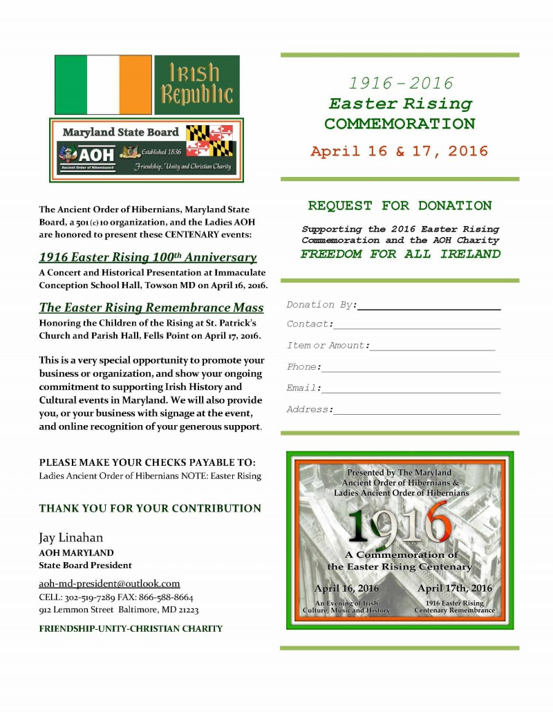 1916 AOH Maryland Donation Request Form 03-17-16